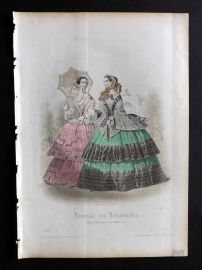 Journal des Demoiselles C1850 Antique Hand Col Fashion Print 33